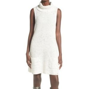 Leith Sleeveless  Cream Turtleneck  Sweater Dress